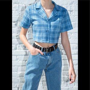 Brandy Melville Blue/white plaid Vivian top